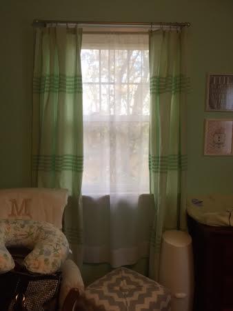 green curtains