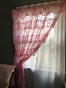 Molly's frilly pink curtains