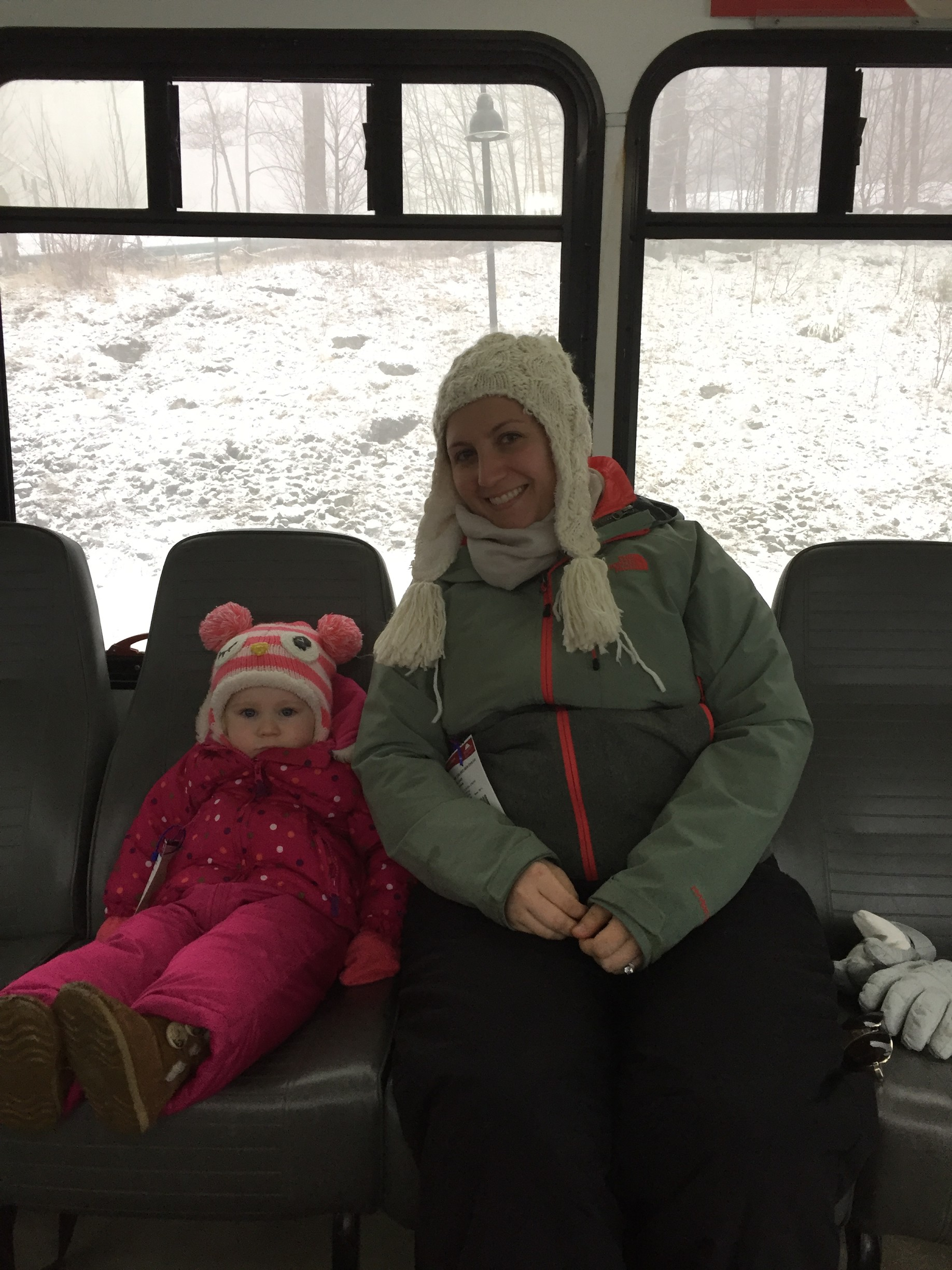 Molly's favorite part of the ski trip: bus rides